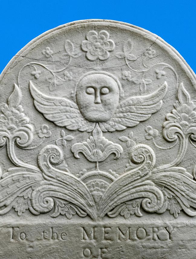Decorative design on old memorial grave stone, Bennington, Vermont, USA.