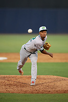 Daytona Tortugas relief pitcher Dauri Moreta (32) during a Florida State League game against the Tampa Tarpons on May 18, 2019 at George M. Steinbrenner Field in Tampa, Florida.  Daytona defeated Tampa 7-6.  (Mike Janes/Four Seam Images)
