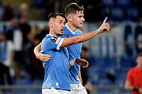 Patric Gil of SS Lazio celebrates with Toma Basic after scoring the goal of 2-0 during the Europa League group stage football match between SS Lazio and Lokomotiv Moskva at Olimpico stadium in Rome (Italy), September 30th, 2021. Photo Antonietta Baldassarre / Insidefoto