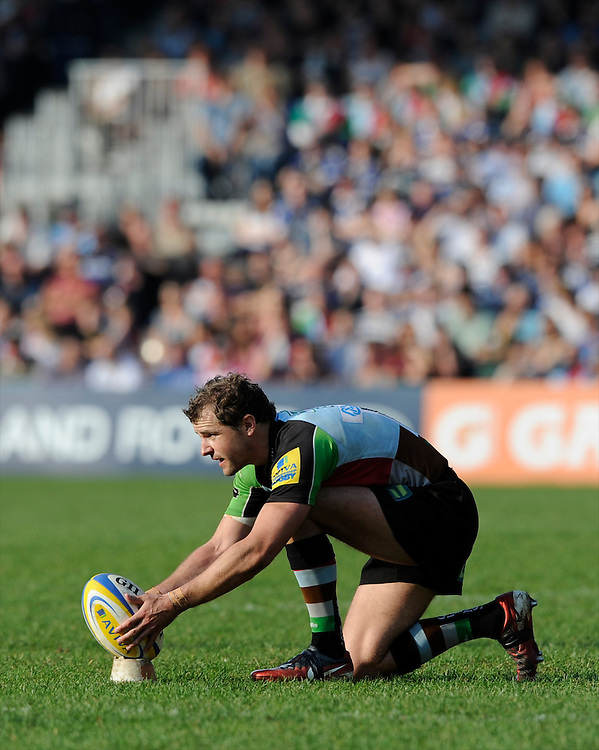 Nick Evans of Harlequins lines up a kick during the Aviva Premiership match between Harlequins and Bath Rugby at The Twickenham Stoop on Saturday 24th March 2012 (Photo by Rob Munro)