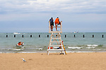 Lifeguards on duty at a beach on Lake Michigan, near Lincoln Park, Chicago, Illinois