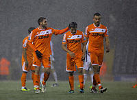 Pictured L-R: Team mates Angel Rangel, Neil Taylor and Steven Caulker of Swansea congratulate each other after the final whistle. Saturday, 04 February 2012<br /> Re: Premier League football, West Bromwich Albion v Swansea City FC v at the Hawthorns Stadium, Birmingham, West Midlands.