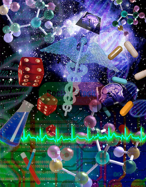 metaphoric composite photo illustration with icons of health and genetics, DNA model, a heart rhythm, medicines, pills, caduceus