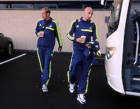 Wednesday 18 September 2013<br /> Pictured L-R: Gerhard Tremmel and Jonjo Shelvey boarding the team coach in Swansea <br /> Re: Swansea City FC players and staff travelling to Spain for their UEFA Europa League game against Valencia.