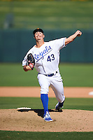 Surprise Saguaros pitcher Eric Stout (43), of the Kansas City Royals organization, during a game against the Salt River Rafters on October 17, 2016 at Surprise Stadium in Surprise, Arizona.  Surprise defeated Salt River 3-1.  (Mike Janes/Four Seam Images)