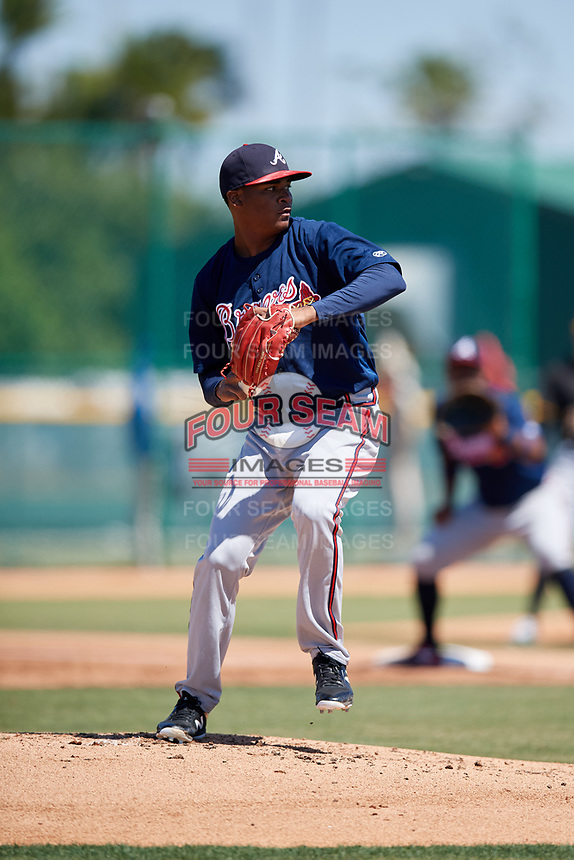 Atlanta Braves pitcher Jasseel De La Cruz (34) during a minor league Spring Training game against the Pittsburgh Pirates on March 13, 2018 at Pirate City in Bradenton, Florida.  (Mike Janes/Four Seam Images)