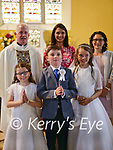 Fybough NS pupils who received the First Holy Communion in Keel church on Saturday morning<br /> Back row left to right Fr Kevin Sullivan, Catherine Ní Mhuircheartaigh (principal) Eileen Lovett (teacher)<br /> <br /> Front row left to right Chloe Hilliard, Pádraig Barton, Keelin Flynn<br /> <br /> Photo credits: Yvonne Weafer