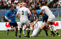 Rugby, Torneo delle Sei Nazioni: Italia vs Inghilterra. Roma, 14 febbraio 2016.<br /> Italy's Abraham Steyn is tackled by England's Courtney Lawes, right, during the Six Nations rugby union international match between Italy and England at Rome's Olympic stadium, 14 February 2016.<br /> UPDATE IMAGES PRESS/Riccardo De Luca