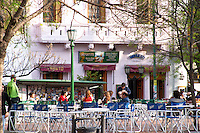 in the San Telmo district around Plaza Dorrego Square, on the square: cafes with people drinking coffee and beer. Calle Defensa Defence street Buenos Aires Argentina, South America