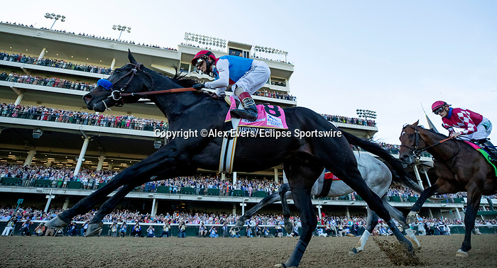 May 1, 2021 : Medina Spirit, #8, ridden by jockey John Velazquez, wins the 147th running of the Kentucky Derby on Kentucky Derby Day at Churchill Downs on May 1, 2021 in Louisville, Kentucky. Alex Evers/Eclipse Sportswire/CSM