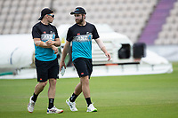 Tom Latham and Kane Williamson, New Zealand during a training session ahead of the ICC World Test Championship Final at the Hampshire  Bowl on 17th June 2021