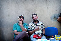 Magali Corouge / Documentography<br /> Cairo, Egypt, 8th of july 2013. <br /> <br /> Early in the morning MB members while doing their morning prayer seem to have been attacked by the army in Nasr City, closed to the Republican guard, sausing numerous number or dead and hundreds of injured.Victims have been sent to get the first aid in Nasser Insurance hospital, the closest hospital neat Rabaa Square.<br /> <br /> Two men are crying in the courtyard of the hospital.