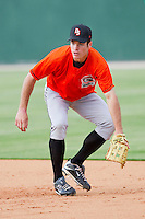Mike Flacco #39 of the Delmarva Shorebirds takes ground balls at first base prior to the game against the Kannapolis Intimidators at Fieldcrest Cannon Stadium on May 20, 2011 in Kannapolis, North Carolina.   Photo by Brian Westerholt / Four Seam Images