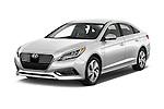 2016 Hyundai Sonata-Plug-in-Hybrid Limited 4 Door Sedan Angular Front stock photos of front three quarter view