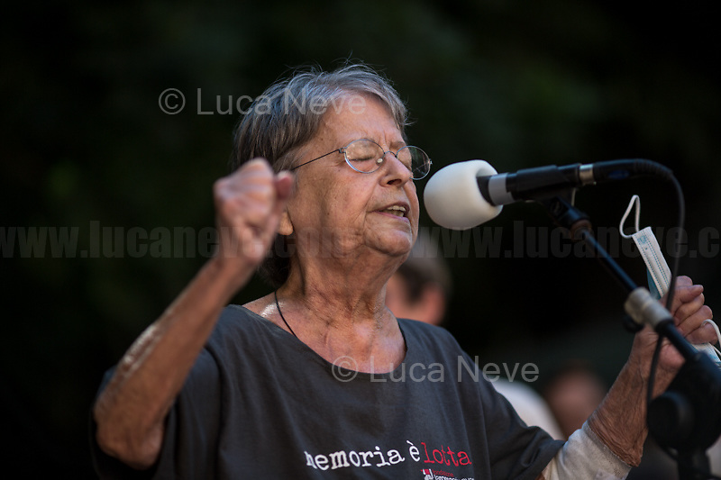 """Haidi Giuliani, Mother of Carlo Giuliani.<br /> <br /> Genoa (Genova, Liguria), Italy. 19th, 20th, 21st July 2021. Twenty years after the dramatic and terrifying events related to the 2001 Genoa's G8 meeting, according to Amnesty International: """"the most serious suspension of democratic rights in a Western country since the Second World War"""" (1.) and as stated on the 2001 """"Report on the situation of fundamental rights in the EU"""" the European Parliament's """"deplores the suspensions of fundamental rights that took place during public demonstrations, and in particular at the G8 meeting in Genoa, such as freedom of expression, freedom of movement, the right to physical integrity"""" (2.). As a reminder, the City of Genoa is State Gold Medal (Medaglia D'Oro) for its Antifascist Resistance in World War II.<br /> <br /> In these three days, throughout a series of events, Genoa and its People, survivors and witnesses, experts and activists, remembered what happened 20 years ago, discussed the present situation of a world dominated by """"casino capitalism"""", predatory neo-liberalism, wars, rightless globalization, environmental and ecosystem degradation, doped consumerism, sources' depredation, fake news, internet deregulated jungle, the reality of climate change and pandemics, and what a different future and society could be.<br /> <br /> FOR MORE INFO READ THE ARTICLE AT THE BEGINNING OF THIS STORY.<br /> <br /> Footnotes, Links:<br /> 1. http://bit.do/fRvdg<br /> 2. http://bit.do/fRvdi<br /> 3. http://bit.do/fRvdj<br /> 4. http://bit.do/fRvdn<br /> 5. http://bit.do/fRvdo<br /> 6. 12.10.18 - Sulla Mia Pelle: Stefano Cucchi's Film Screening At CSOA La Strada http://bit.do/fRvdr<br /> 7. http://bit.do/fRvdt & http://bit.do/fRvdu<br /> 8. http://bit.do/fRvdv & http://bit.do/fRvdw & http://bit.do/fRvdx<br /> 9. http://bit.do/fRvdz<br /> 10. http://bit.do/fRvdA<br /> 11. http://bit.do/fRvdB<br /> http://www.veritagiustizia.it/docs/G8_2021_prog_ITA.pdf http://www.veritagiustizia.it/doc"""