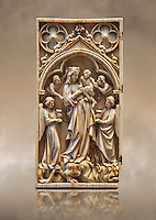Medieval Gothic ivory diptych depicting the Virgin and child,  made in Paris in the first quarter of the 14th century.  inv 11097, The Louvre Museum, Paris.