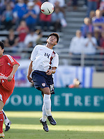 Lee Nguyen prepares to head the ball. The USA defeated China, 4-1, in an international friendly at Spartan Stadium, San Jose, CA on June 2, 2007.