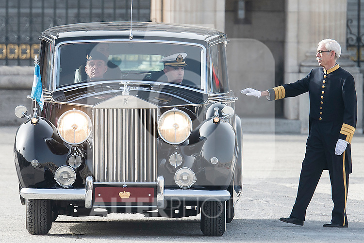 President of Argentinian Republic, Mauricio Macri and Juliana Awada arrives to the Real Palace during state visit of the president of Argentinian Republic, Sr. Mauricio Macri and Sra Juliana Awada at Real Palace in Madrid, Spain. February 19, 2017. (ALTERPHOTOS/BorjaB.Hojas)