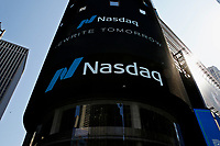 NEW YORK, NEW YORK - MARCH 10: View of Nasdaq building at Times Square on March 10, 2021, in New York. The Nasdaq Composite continued falling more than half a percent during the day also the move away from Apple Inc, Amazon.com Inc , Facebook Inc, Tesla Inc and Microsoft Corp, falling during the day, helped small-cap stocks rise more than double the gains of the S&P 500. (Photo by John Smith/VIEWpress)