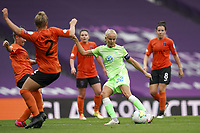 21st August 2020, San Sebastian, Spain;  Pernille Harder of Vfl Wolfsburg shoots and scores the opening goal for Vfl Wolfsburg 0-1 during the UEFA Womens Champions League football match Quarter Final between Glasgow City and VfL Wolfsburg.