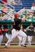 Batavia Muckdogs designated hitter J.D. Osborne (23) at bat during a game against the Lowell Spinners on July 14, 2018 at Dwyer Stadium in Batavia, New York.  Lowell defeated Batavia 8-4.  (Mike Janes/Four Seam Images)