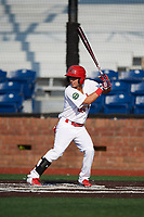 Johnson City Cardinals center fielder Jonatan Machado (51) at bat during a game against the Danville Braves on July 29, 2018 at TVA Credit Union Ballpark in Johnson City, Tennessee.  Johnson City defeated Danville 8-1.  (Mike Janes/Four Seam Images)