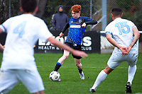 Owen Barnett in action during the Central League football match between Miramar Rangers and Wellington Olympic AFC at David Farrington Park in Wellington, New Zealand on Saturday, 29 May 2021. Photo: Dave Lintott / lintottphoto.co.nz