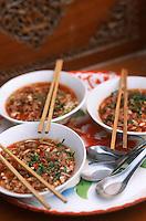 Thaïlande/Bangkok: Soupe de nouilles & riz avec du porc, du sucre de canne, des piments séchés et des cacahuètes chez Suda près de Tha Kha à Ban-Ama aux environs de Bangkok