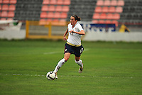 Meghan Schnur charges the ball upfield. The USA defeated Norway 2-1 at Olhao Stadium on February 26, 2010 at the Algarve Cup.