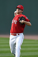 Starting pitcher Hunter Haworth (20) of the Greenville Drive warms up before a game against the Rome Braves on Friday, April 13, 2018, at Fluor Field at the West End in Greenville, South Carolina. Rome won, 10-6. (Tom Priddy/Four Seam Images)