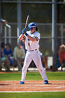 South Dakota State Jackrabbits second baseman Luke Ira (1) bats during a game against the FIU Panthers on February 23, 2019 at North Charlotte Regional Park in Port Charlotte, Florida.  South Dakota State defeated FIU 4-3.  (Mike Janes/Four Seam Images)
