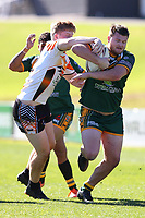 The Wyong Roos play The Entrance Tigers in Round 13 of the Open Age Central Coast Rugby League Division at Morry Breen Oval on 14th of July, 2019 in Kanwal, NSW Australia. (Photo by Paul Barkley/LookPro)