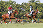 WELLINGTON, FL - FEBRUARY 19: Costi Caset of Tonkawa controls the ball, down the field, with Wes Finlayson of Coca Cola in pursuit,  as Coca Cola 9 defeats Tonkawa 8 in overtime with a Golden Goal on a Penalty 2 by Julio Arellano, in the William Ylvisaker Cup Final, at the International Polo Club, Palm Beach on February 19, 2017 in Wellington, Florida. (Photo by Liz Lamont/Eclipse Sportswire/Getty Images)