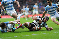 Juan Manuel Leguizamon of Barbarians (Jaguares & Argentina) scores a try during the Killik Cup match between the Barbarians and Argentina at Twickenham Stadium on Saturday 1st December 2018 (Photo by Rob Munro/Stewart Communications)