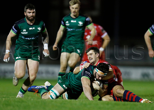 14th November 2020; Galway Sportsgrounds, Galway, Connacht, Ireland; Guinness Pro 14 Rugby, Connacht versus Scarlets; Dan Jones (Scarlets) takes Paul Boyle (Connacht) to ground