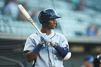Seuly Matias (25) of the Wilmington Blue Rocks waits for his turn to bat during the game against the Winston-Salem Dash at BB&T Ballpark on April 16, 2019 in Winston-Salem, North Carolina. The Blue Rocks defeated the Dash 4-3. (Brian Westerholt/Four Seam Images)