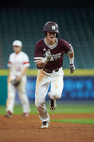 Rowdey Jordan (4) of the Mississippi State Bulldogs hustles towards third base against the Louisiana Ragin' Cajuns in game three of the 2018 Shriners Hospitals for Children College Classic at Minute Maid Park on March 2, 2018 in Houston, Texas.  The Bulldogs defeated the Ragin' Cajuns 3-1.   (Brian Westerholt/Four Seam Images)