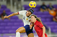 ORLANDO CITY, FL - FEBRUARY 18: Lynn Williams #6 of the United States beats Allysha Chapman #2 of Canada to the ball during a game between Canada and USWNT at Exploria Stadium on February 18, 2021 in Orlando City, Florida.