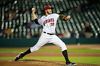 Dovydas Neverauskas (30) of the Indianapolis Indians delivers a pitch to the plate at Victory Field on May 14, 2019 in Indianapolis, Indiana. The Indians defeated the RailRiders 4-2. (Andrew Woolley/Four Seam Images)