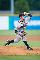 Danville Braves starting pitcher Dilmer Mejia (32) delivers a pitch to the plate against the Burlington Royals at Burlington Athletic Stadium on August 12, 2017 in Burlington, North Carolina.  The Braves defeated the Royals 5-3.  (Brian Westerholt/Four Seam Images)