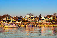 Edgartown harbor and homes, Martha's Vineyard, Massachusetts, USA
