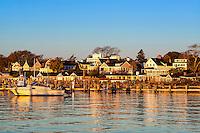 Edgartown harbor and homes, Martha's Vineyard, Massachusetts, USA