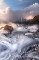 Crashing waves at Lago Pehoe. Torres Del Paine National Park, Chile