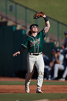Greensboro Grasshoppers first baseman Aaron Shackelford (44) catches a pop fly during the game against the Hudson Valley Renegades at First National Bank Field on September 2, 2021 in Greensboro, North Carolina. (Brian Westerholt/Four Seam Images)