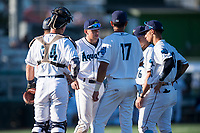 Everett AquaSox catcher Troy Dixon (34) and infielders Bobby Honeyman (3), Nick Rodriguez (17), Ryne Ogren (16), and Cesar Izturis Jr. (40) gather on the mound during a Northwest League game against the Tri-City Dust Devils at Everett Memorial Stadium on September 3, 2018 in Everett, Washington. The Everett AquaSox defeated the Tri-City Dust Devils by a score of 8-3. (Zachary Lucy/Four Seam Images)