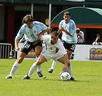 CŽsar Garignano, left, Carlos Bocanegra, right, Argentina vs. USA, Miami, Fla.