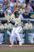 Vanderbilt Commodores second baseman Harrison Ray (2) at bat against the Michigan Wolverines during Game 3 of the NCAA College World Series Finals on June 26, 2019 at TD Ameritrade Park in Omaha, Nebraska. Vanderbilt defeated Michigan 8-2 to win the National Championship. (Andrew Woolley/Four Seam Images)