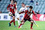 Auckland City Midfielder Clayton Lewis (l) fights for the ball with FC Seoul Midfielder Go Yo Han (r) during the 2017 Lunar New Year Cup match between Auckland City FC (NZL) and FC Seoul ((KOR) on January 28, 2017 in Hong Kong, Hong Kong. Photo by Marcio Rodrigo Machado/Power Sport Images