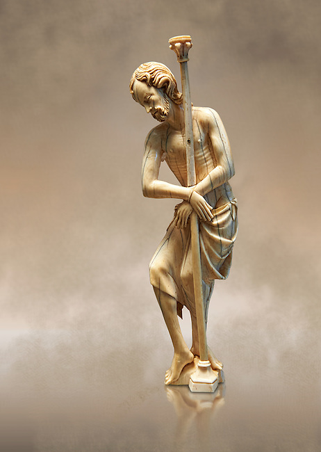 Medieval ivory figure of Christ at the pillar made in Paris around 1300-1320.  inv 12380, The Louvre Museum, Paris.