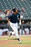 Designated hitter Mark Vientos (13) of the Columbia Fireflies runs out a batted ball in a game against the Rome Braves on Tuesday, June 4, 2019, at Segra Park in Columbia, South Carolina. Columbia won, 3-2. (Tom Priddy/Four Seam Images)